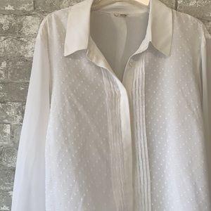 White sheer layered button down shirt
